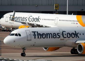 Aviones de la compañía británica Thomas Cook, que se declaró en quiebra el 23 de septiembre de 2019 dejando a miles de turistas varados en todo el mundo. Foto: manchestereveningnews.co.uk / Archivo.