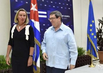 La jefa de la diplomacia de la Unión Europea, Federica Mogherini, y el canciller cubano, Bruno Rodríguez, conversan tras el Segundo Consejo Conjunto Cuba-UE celebrado en La Habana el 9 de septiembre de 2019. Foto: Otmaro Rodríguez.