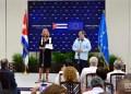 La jefa de la diplomacia de la Unión Europea, Federica Mogherini, y el canciller cubano Bruno Rodríguez ofrecen declaraciones a la prensa tras el Segundo Consejo Conjunto Cuba-UE celebrado en La Habana el 9 de septiembre de 2019. Foto: Otmaro Rodríguez.