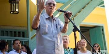 El historiador de La Habana, Dr. Eusebio Leal, habla a la prensa en el Convento de Santa Clara, el lunes 4 de noviembre de 2019. Foto: Otmaro Rodríguez.