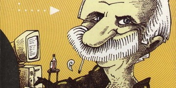 """Caricatura de Manuel González Bello realizada por Ares, y portada del libro """"Con una sonrisa"""", que compila crónicas de su autoría publicadas en el diario Juventud Rebelde. Imagen: cubaperiodistas.cu"""
