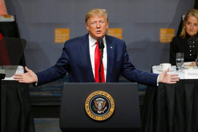 El presidente Donald Trump habla ante el Club Económico de Nueva York, el martes 12 de noviembre del 2019, en Nueva York. Foto: AP/Seth Wenig