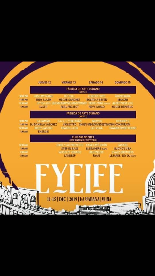 Parte del programa del Eyeife 500