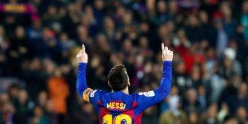 El argentino Lionel Messi festeja después de anotar el segundo gol del Barcelona en el partido por La Liga española frente al Barcelona, en el Camp Nou de Barcelona, el sábado 7 de diciembre de 2019. Foto: Joan Monfort / AP.
