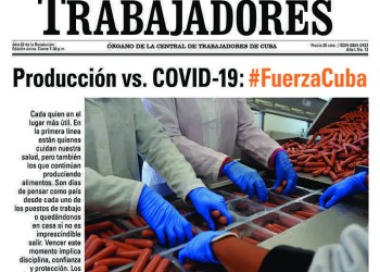 Fragmento de la portada del semanario cubano Trabajadores, el lunes 30 de marzo de 2020.