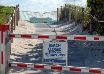 Las playas de Miami-Beach siguen cerradas por el coronavirus. Foto: Cristóbal Herrera/EFE.