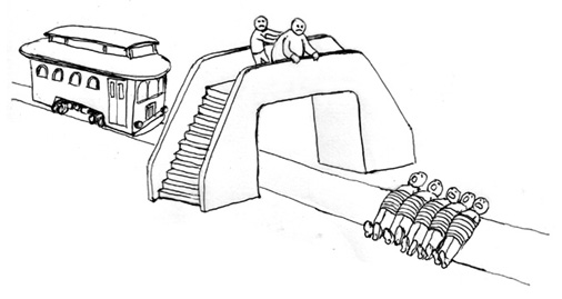 Trolley problems: should he push the man?