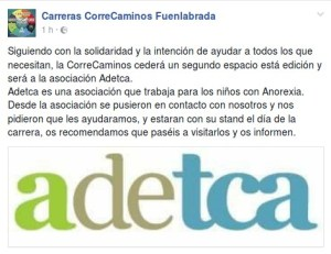 La Correcaminos 2017 colaborará con la Asociación Adetca
