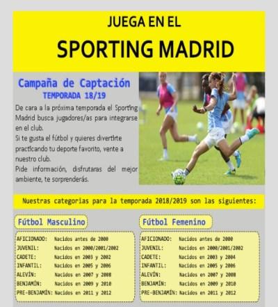 Abierto el plazo de inscripción para jugar en el Sporting Madrid