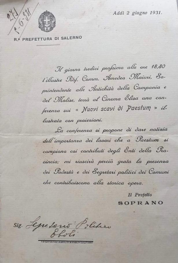 Documento storico sugli scavi di Paestum