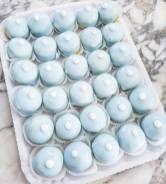 Sospiri azzurri con crema al cioccolato
