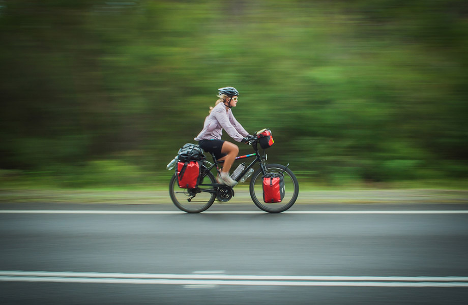 woman touring on a cycle