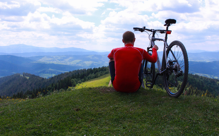 Man Sitting Mountain Bike