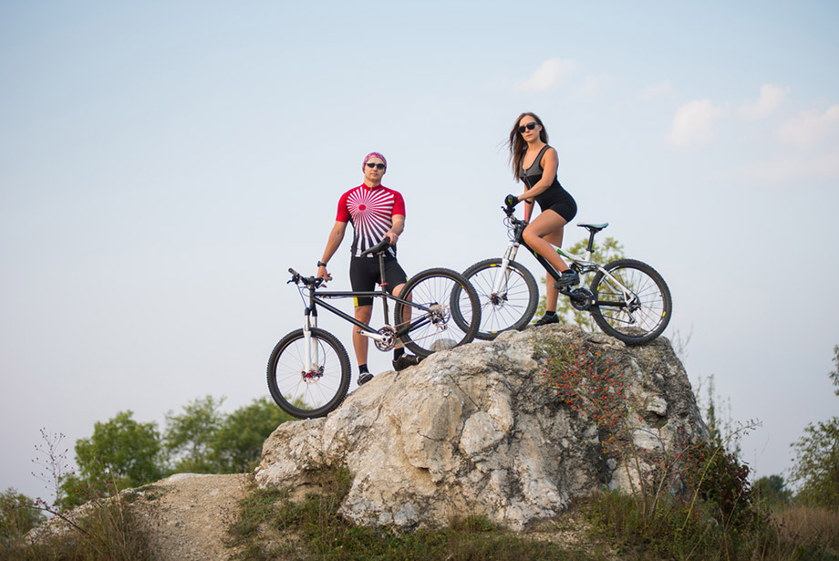 Guy Girl Mountain Biking