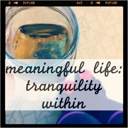 meaningful life: tranquility within