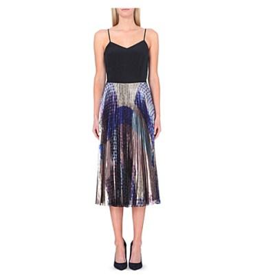 VICTORIA VICTORIA BECKHAMPleated metallic-skirt silk dress