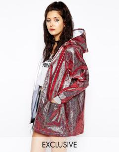 The Ragged Priest Hooded Festival Rain Metallic Jacket