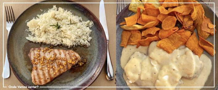 magma restaurante atum com gengibre e bife com molho de queijo e mel