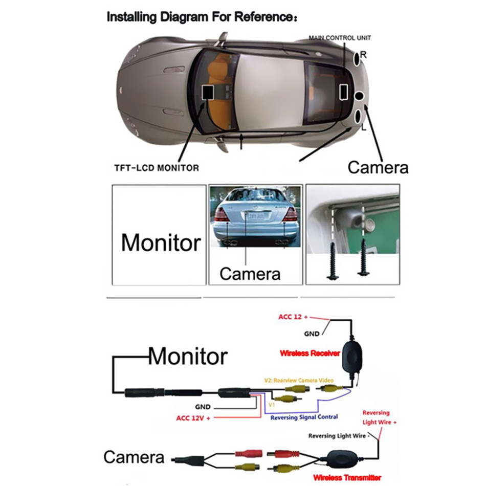 hight resolution of  universal multi function waterproof 12v car ir rear view wireless backup camera kit 7 tft lcd