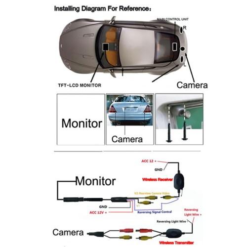 small resolution of  universal multi function waterproof 12v car ir rear view wireless backup camera kit 7 tft lcd