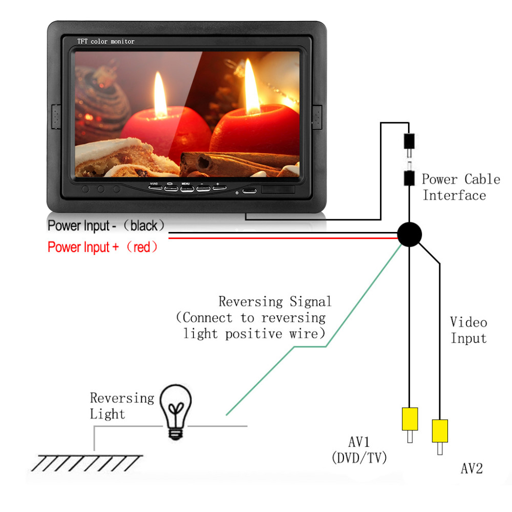 hight resolution of  car rear view system 7 tft lcd monitor wireless transmitter receiver car parking backup