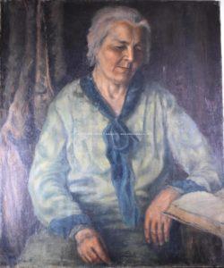 Karol Molnár?: Portrét starší ženy, olej na plátně, 90 x 76cm.