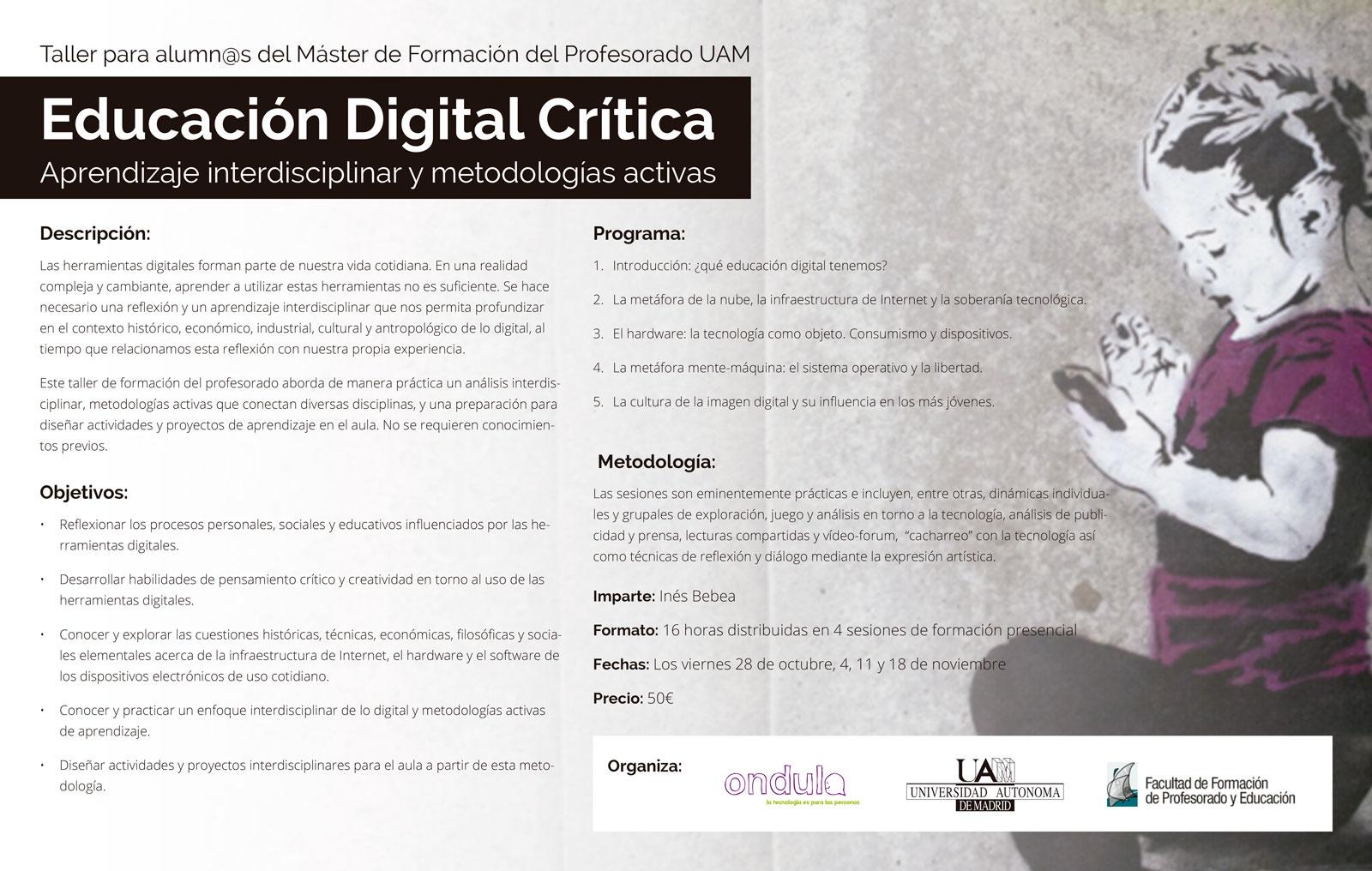 Dossier del Curso de Educación Digital Crítica en Universidad Autónoma de Madrid