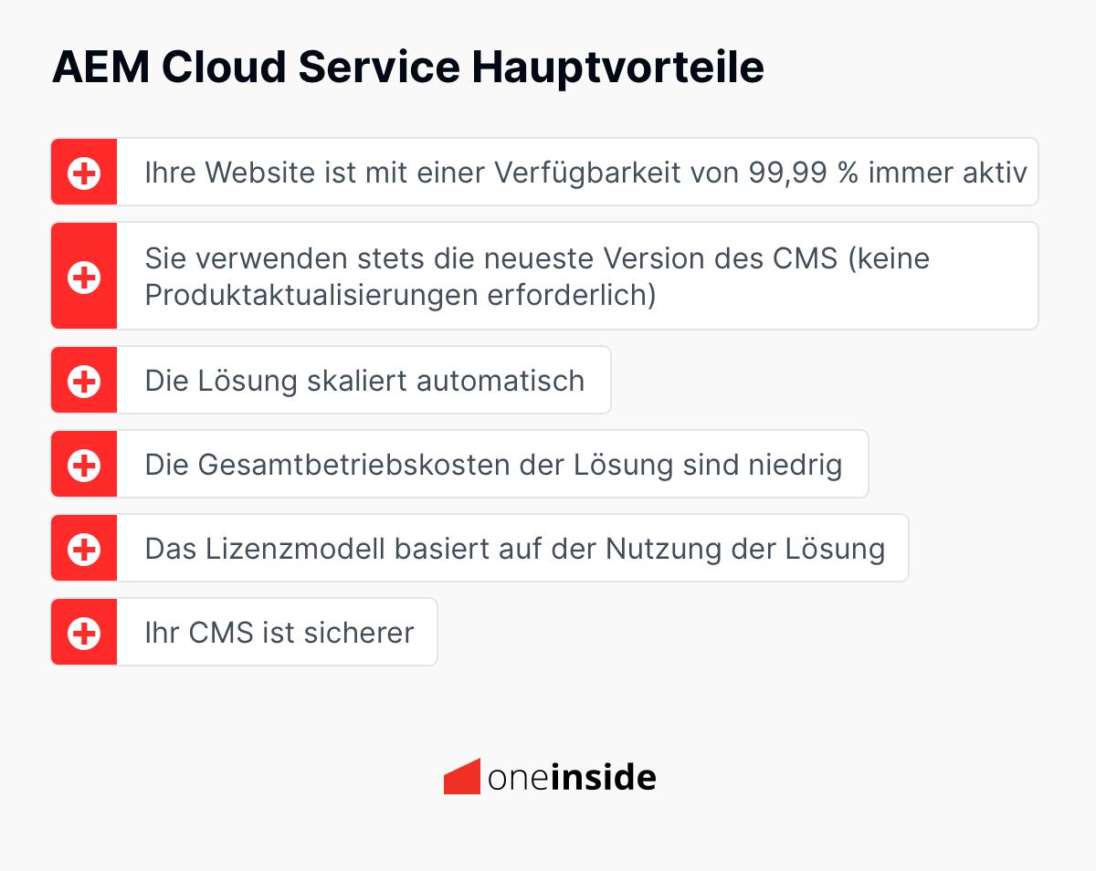 AEM Cloud Service Hauptvorteile