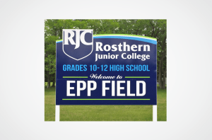 Rosthern Junior College Epp Field Sign
