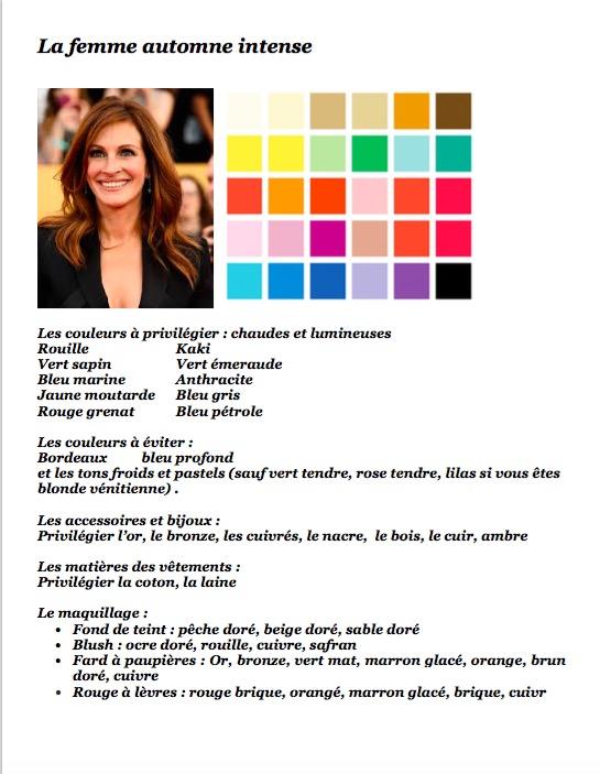 Colorimétrie Automne intense