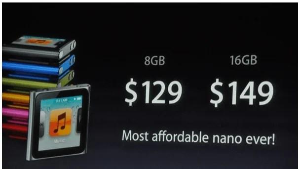 Precios iPod Nano de sexta generación