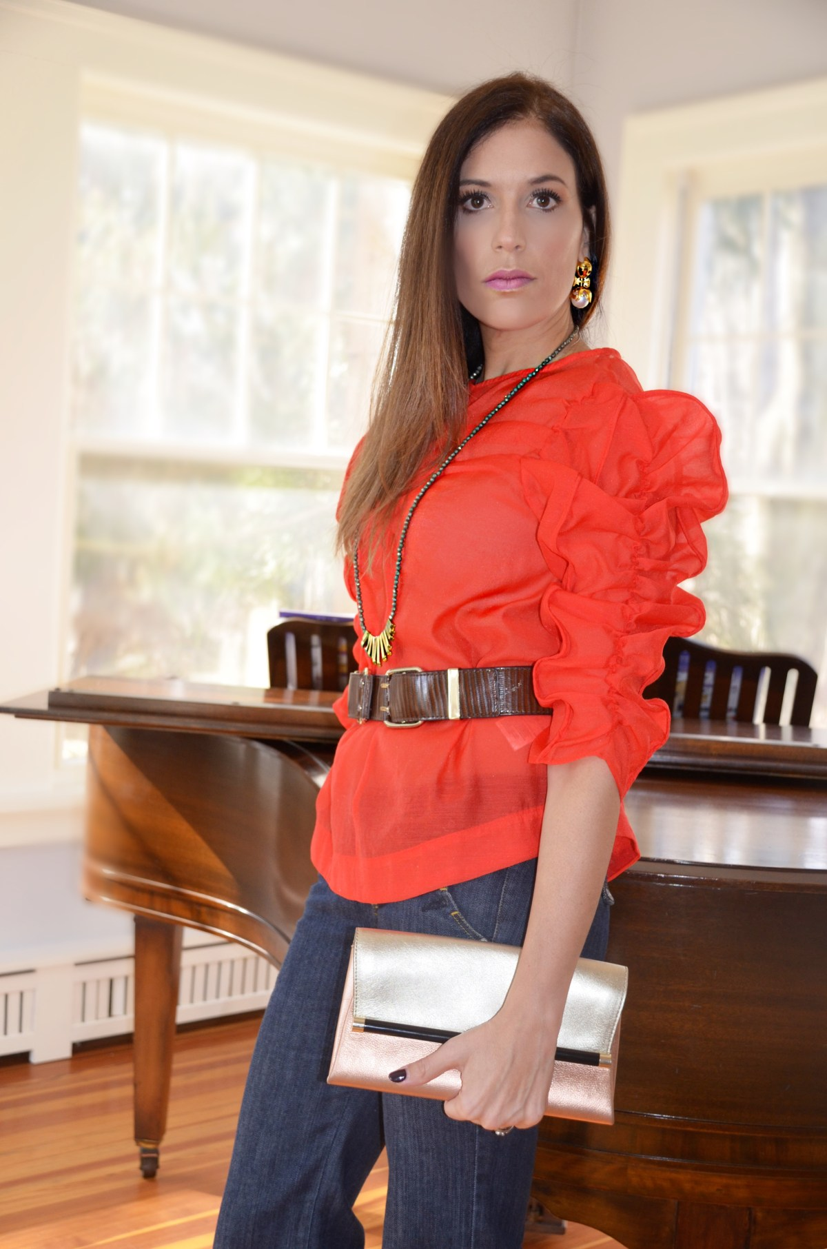 Red-blouse-woman-red