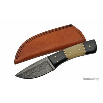 couteau skinner damas lame 256 couches manche os etui cuir dm1184