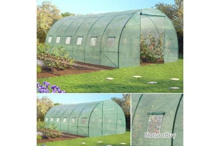 grande serre de jardin tunnel relevable toutes saisons 18m2 140gr m2 verte 1363607