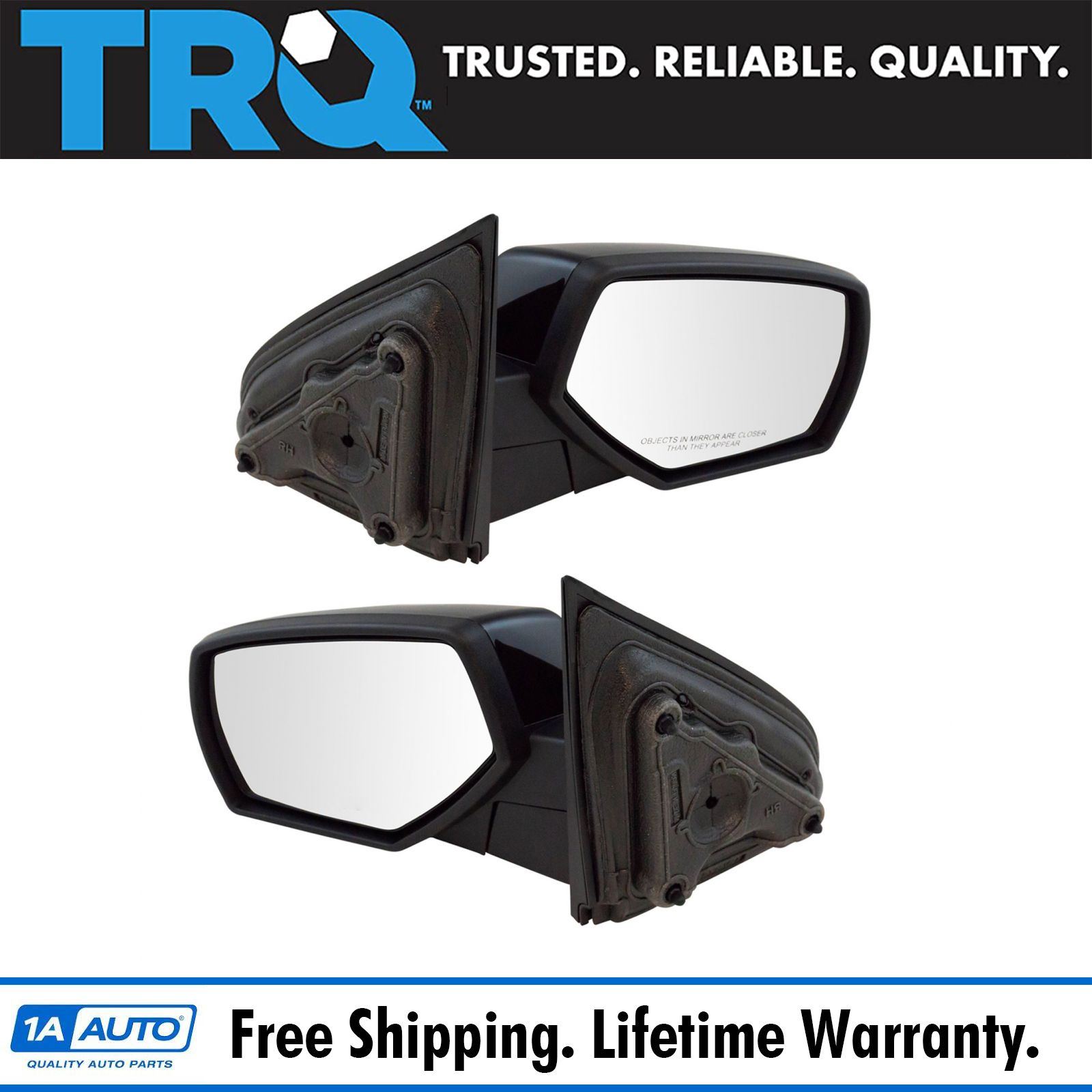 hight resolution of mirror manual smooth black pair set of 2 for chevy gmc pickup truck new