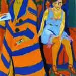 与模特在一起的自画像 by 厄恩斯特·路德维希·基希纳