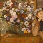 坐在一瓶花旁边的女子 by 德加