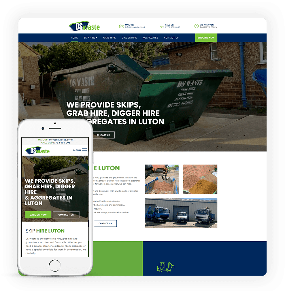 Skip hire website design