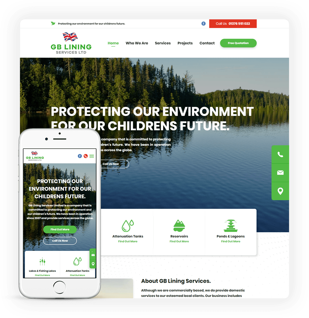 pond relining website design