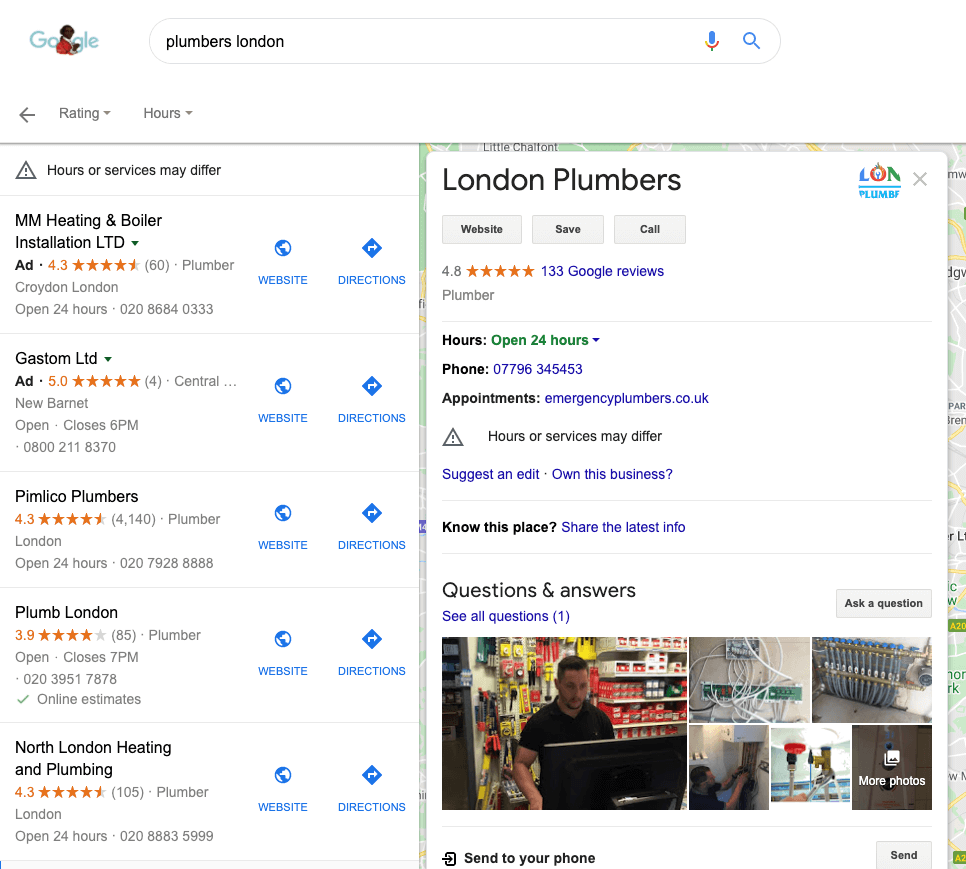 SEO plumbing reviews