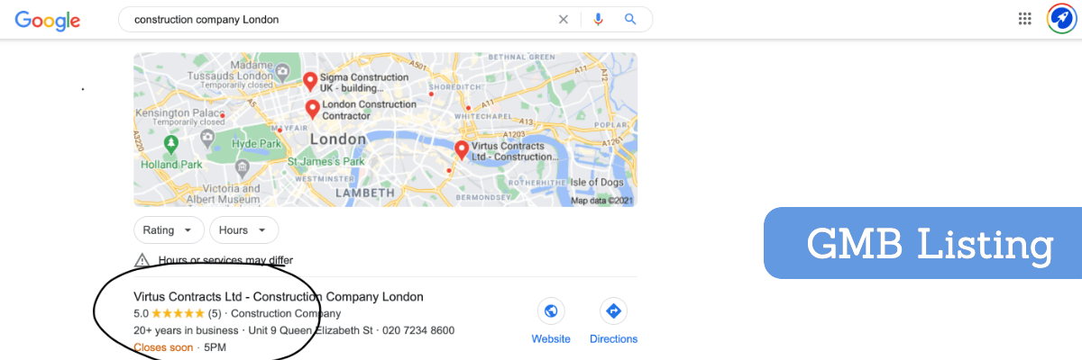 construction company google business listing