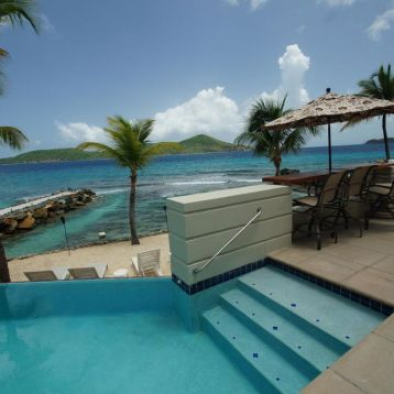 Steps into the pool or lounge at the beach