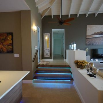 Blue lit stairwell sinks into living space
