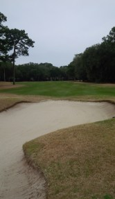 A look back from the 13th green reveals the 3rd of 3 consecutive holes that dog legged to the left in varying degrees.