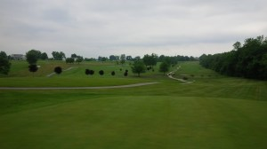 A look back from the two-club elevated par 3 13th green.