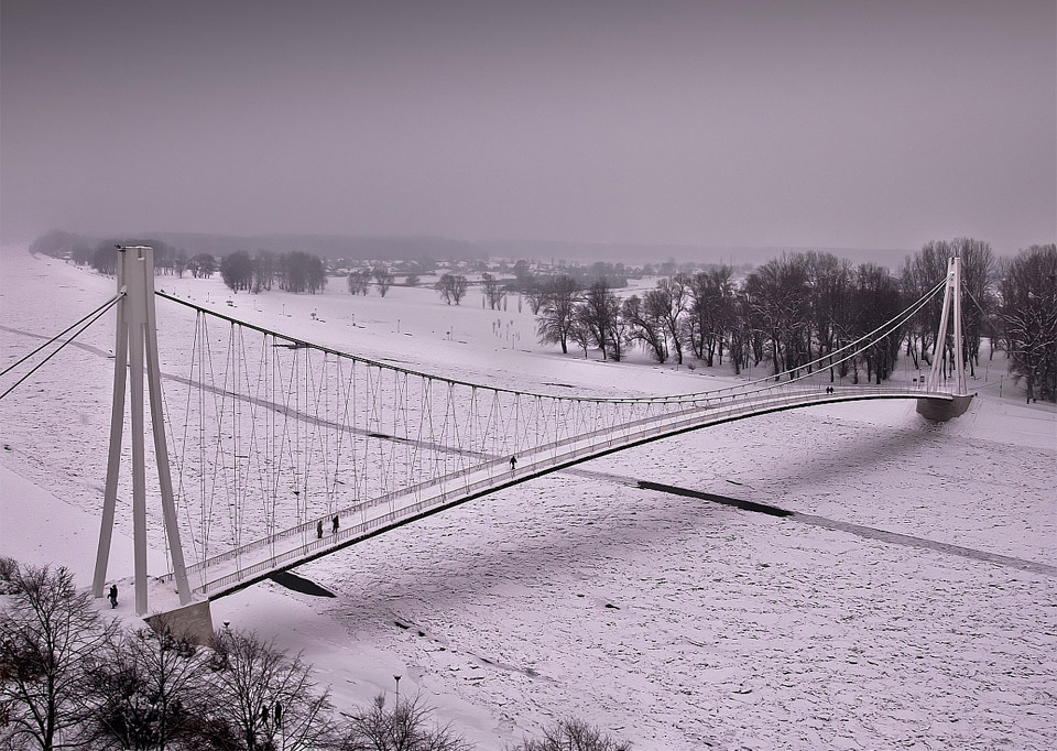 bridge over ice river, croatia