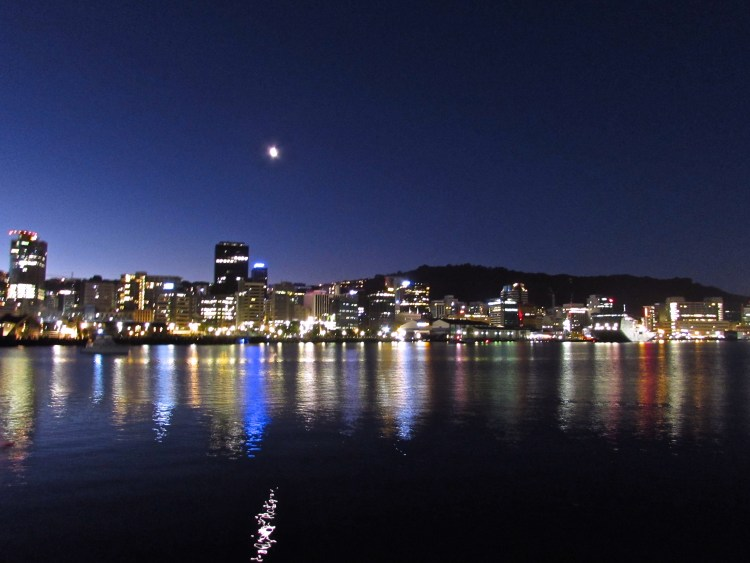 Wellington Harbour City Lights, New Zealand
