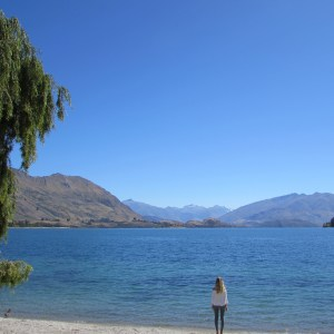Girl at Lake Wanaka, New Zealand