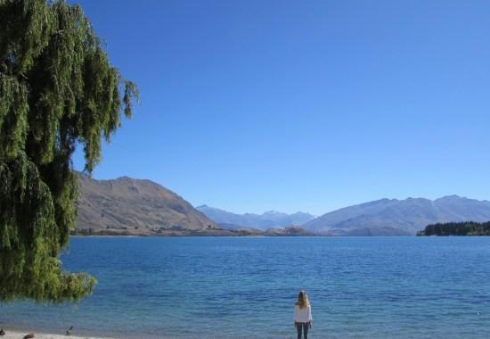 Girl at Lake Wanaka, New Zealand