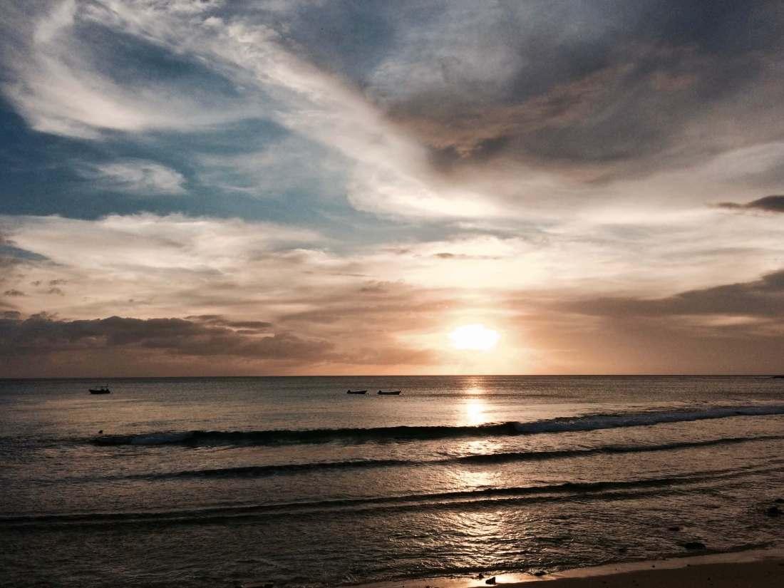 Sunset on beach at Octopus Resort